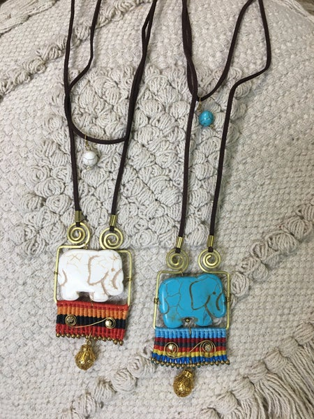 Timeless - Bohemian Elephant Pendant Suede Cord Necklace