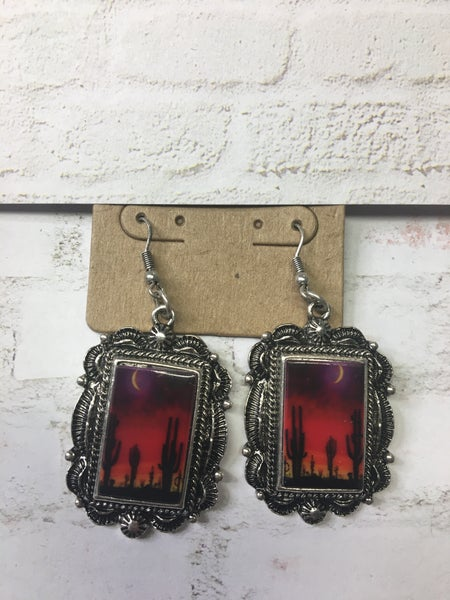 Western Rectangle Portrait Earrings - Desert Night