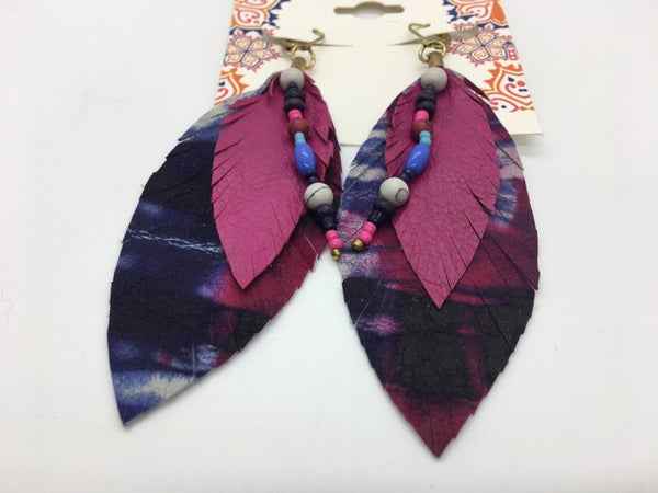 Boho Feather Tie Dye Leather Earring