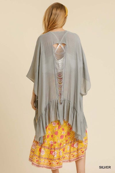 Umgee - Back Distressed Detail Drape Kimono - 2 Colors