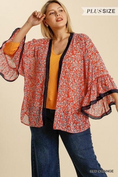 Umgee - Curvy Floral Print Bell Sleeve Kimono