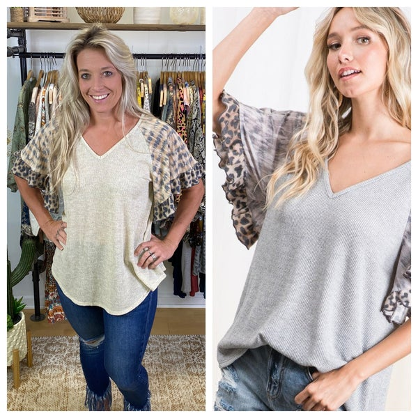 Ces Femme - Ruffle Wide Sleeve V-Neck Top - 2 Colors