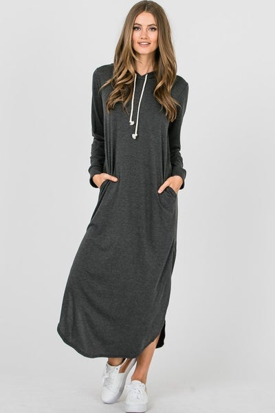 Hailey & Co  - French Terry Maxi Hooded Dress
