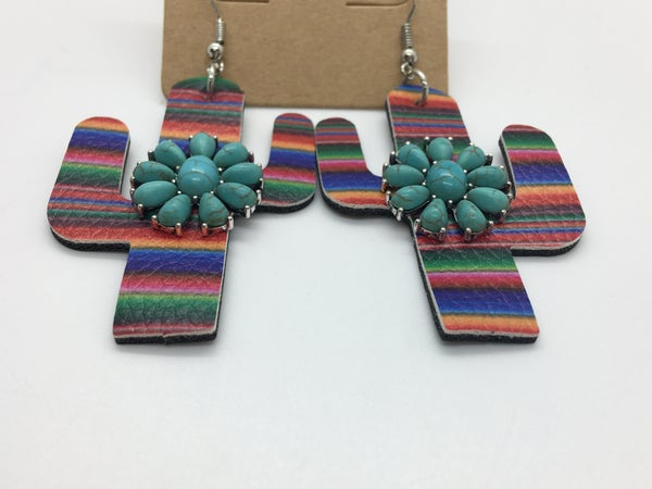Cactus Turquoise Stone Leather Earrings
