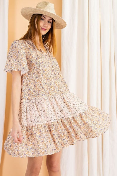 Easel - Chiffon Ruffled Floral Dress