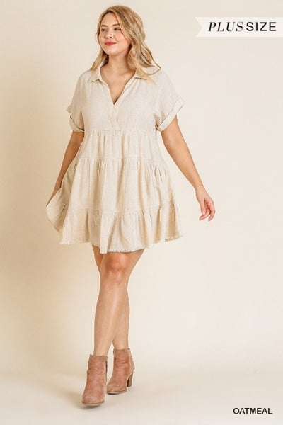 Umgee - Curvy Ruffled Tiered Dress - 2 Colors