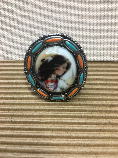 Western Native Woman Print Cuff Ring
