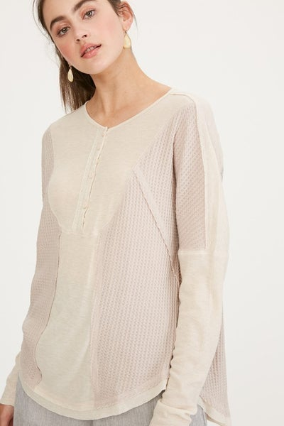 Listicle - Waffle & Rib Textured  Henley Knit Top