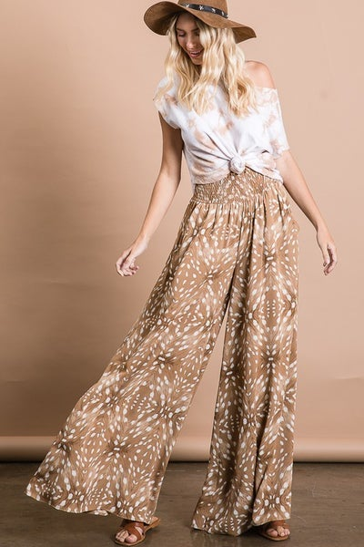 Bucketlist - Multi Printed Smocked Waist Maxi Pants with Side Pockets