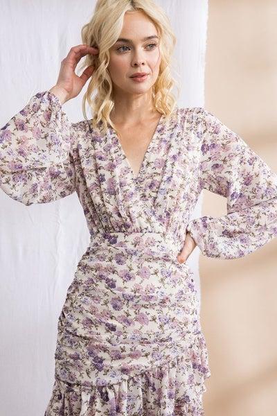 Lena - Floral Print Shirred Ruffle Dress