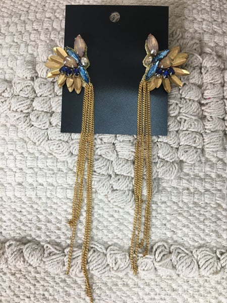Blue Stone Statement Earring With Long Gold Chains