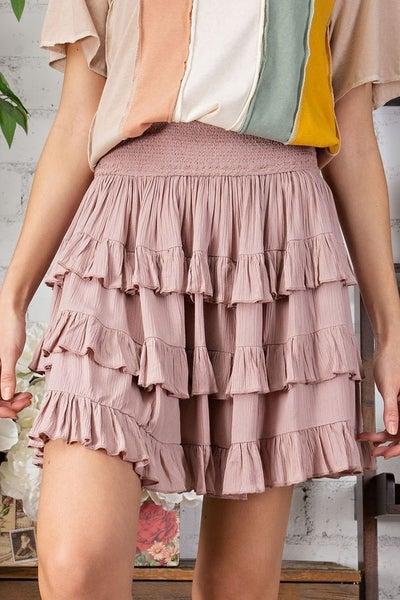 Easel - Ruffled Flyaway Skirt - 2 Colors