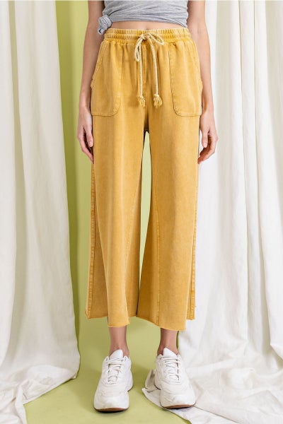 Easel - Washed Terry Knit Wide Leg Pant - 4 Colors