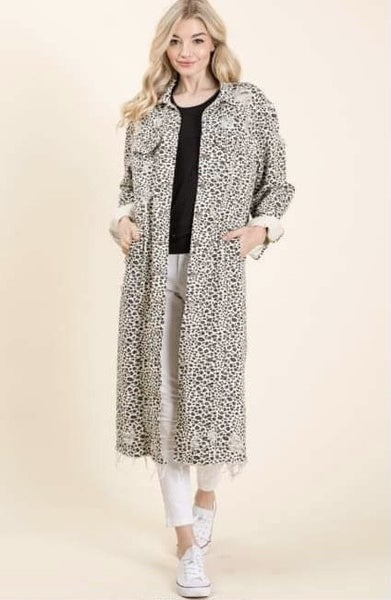 Veveret - Animal Print Twill Long Jacket