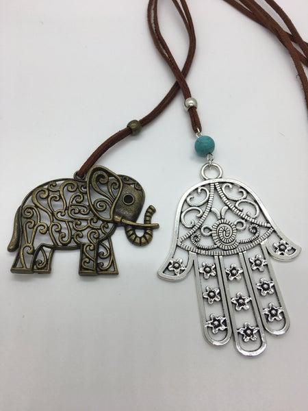 Bali - Hamsa & Elephant Adjustable Necklace