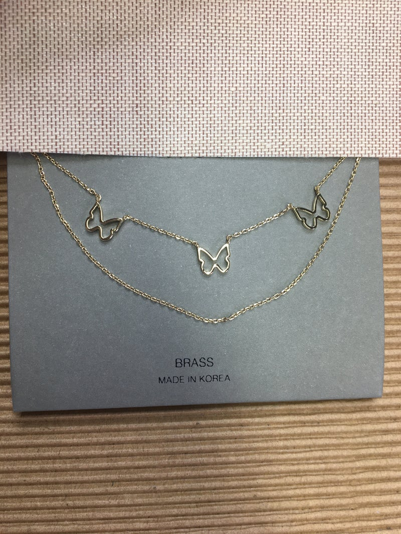 Open Butterfly Double Chain Necklace