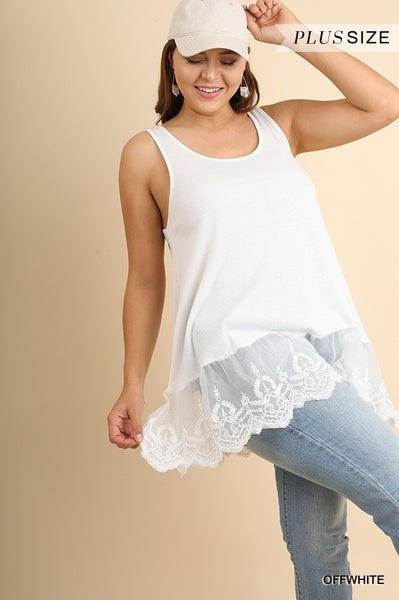 Umgee - Curvy Ribbed Tank With Lace Trim - 2 Colors
