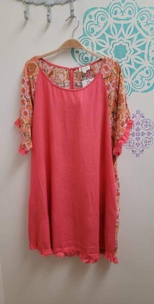 Umgee - Curvy Linen Blend Floral Print Short