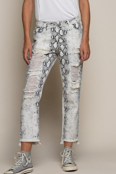 POL - Destressed Snakeskin Denim