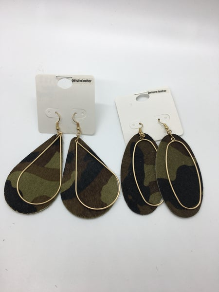 Hair-on Leather Camo Earring - 2 Styles