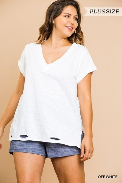 Umgee - Curvy V Neck Knit Top With Distressed Hem - 6 Colors