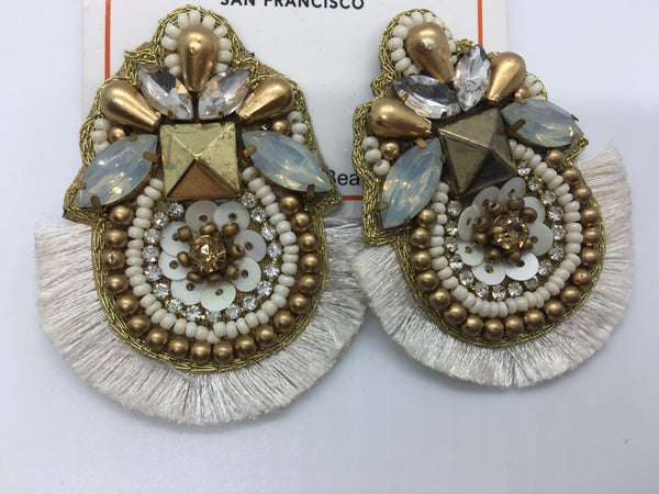 Cream Statement Post Earring