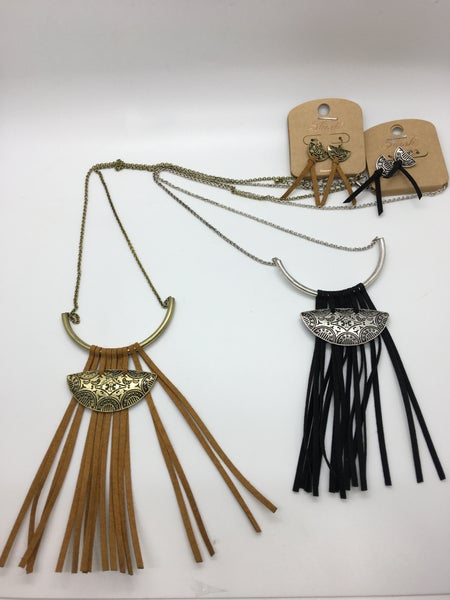 Suede Tassel Cord Necklace - 2 Colors