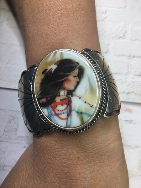 Native Woman Cuff Stretch Bracelet