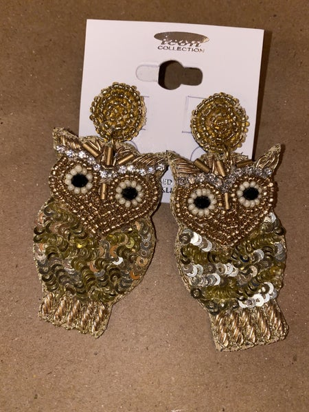 Gold Sequin Owl Earring