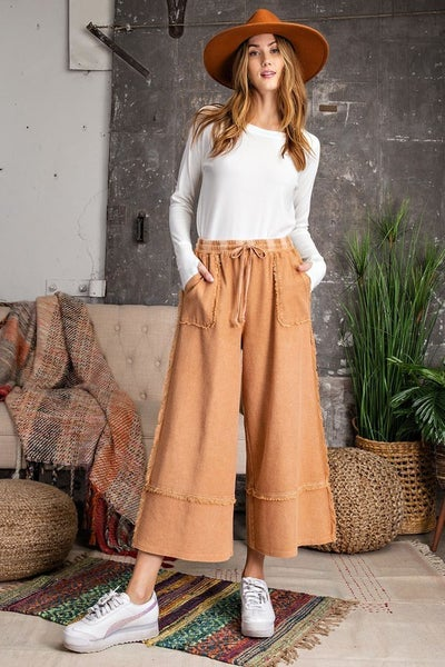 Easel - Mineral Washed Wide Leg Pants - 2 Colors