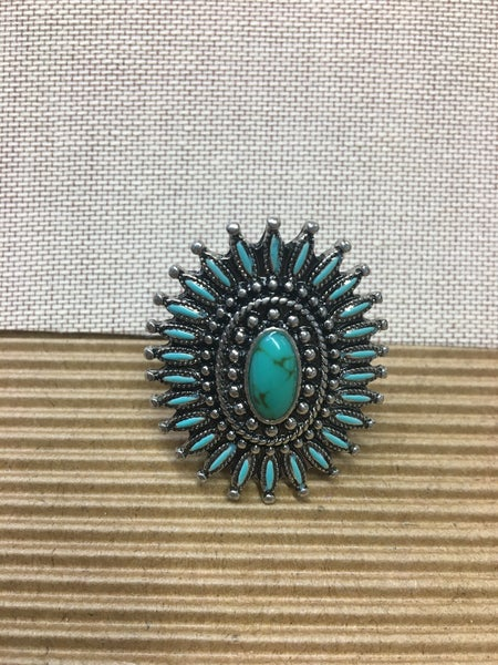 Western Design Stone Cuff Ring - Turquoise