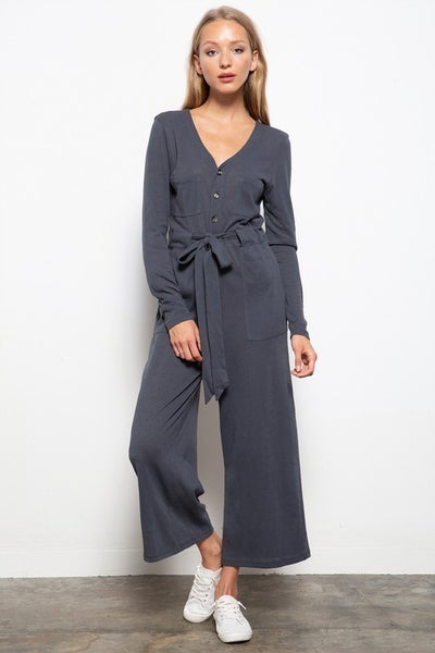 Mittoshop - V-Neck Button Down Knit Jumpsuit