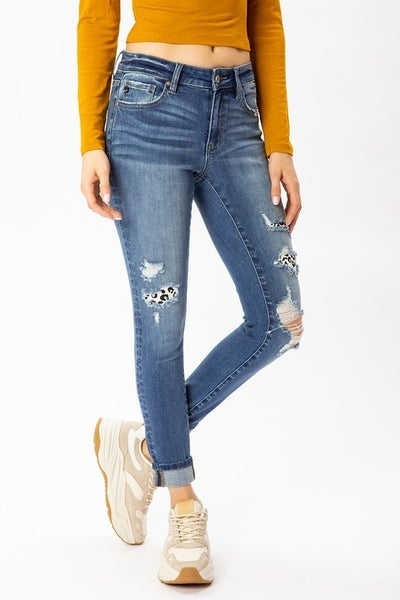 Kan Can - Mid Rise Ankle Skinny With Patch