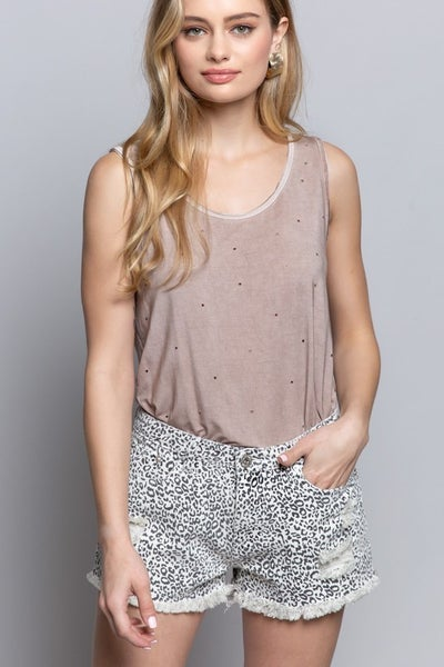 POL - Leopard Distressed Denim Shorts