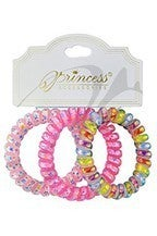 Phone Cord Hair Tie Set 3-pc - Assorted Colors