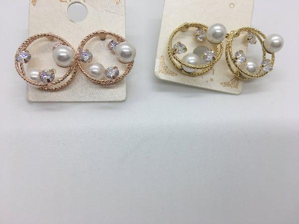Crystal & Pearl Stud Earring - 2 Colors