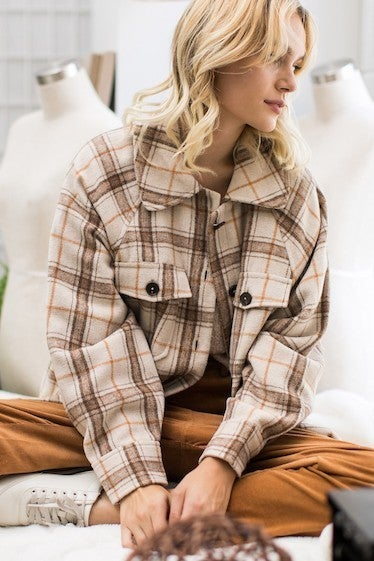 Very J - Plaid Button Up Jacket