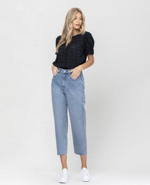 Vervet - High Rise Barrel Crop Jeans