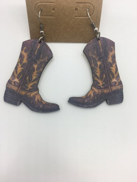 Western Boots Wood Earring - Brown