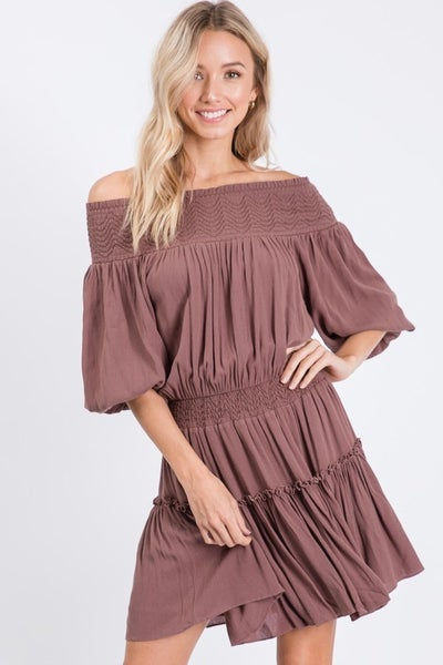 Hailey & Co - Brown Smocking Dress