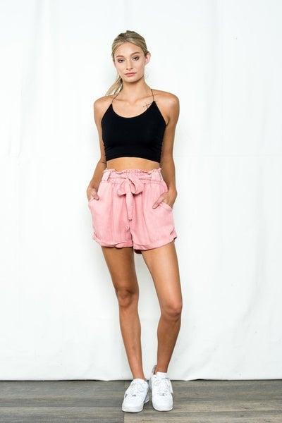 Sneak Peek - High Rise Paper Bag Shorts With Rolled Up Hem