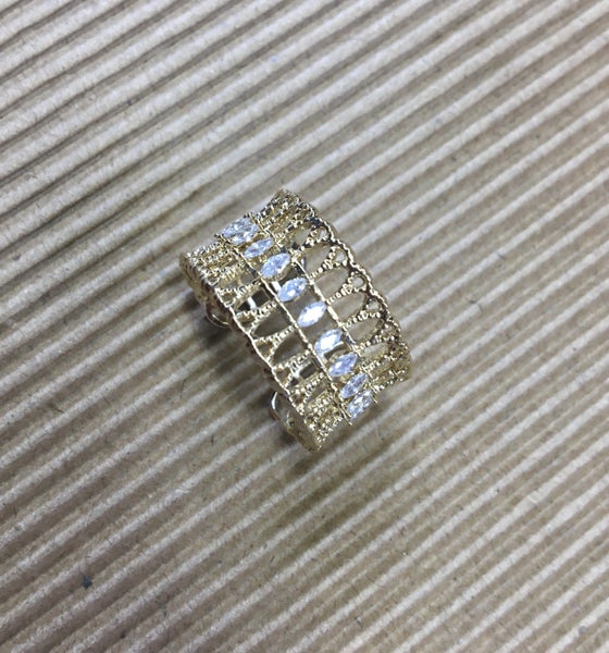 Wide Open Gold Band Ring with CZ Stones