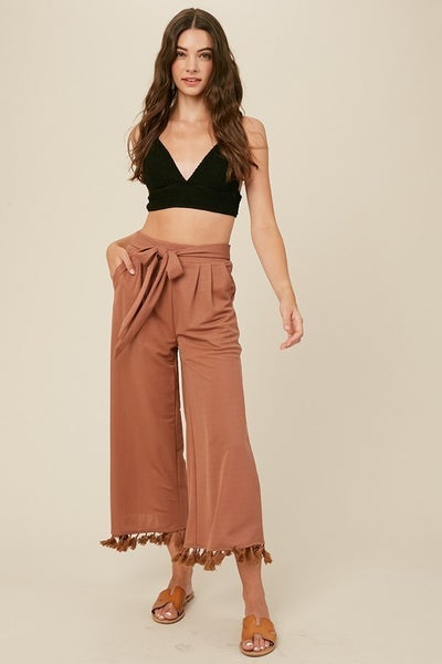 Listicle - Textured Wide Leg Culottes