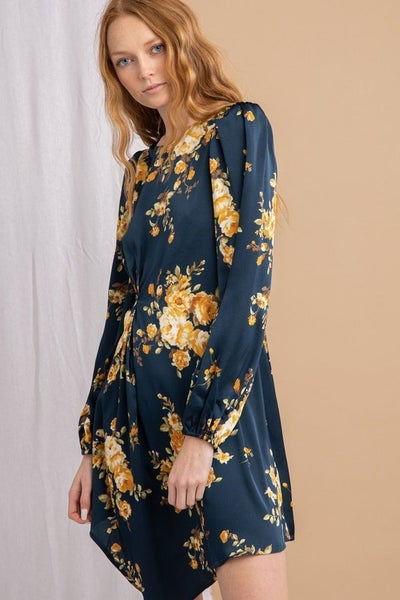 Lena - Satin Floral Pleated Dress