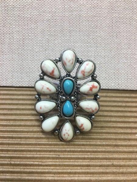 Western Design Stone Cuff Ring - White/Turq