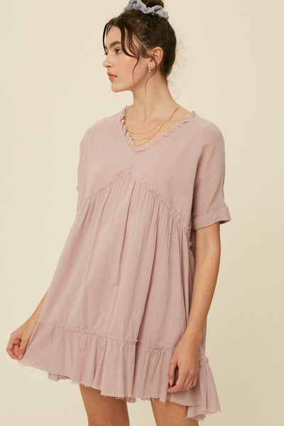 Listicle - Linen Textured V Neck Babydoll Ruffle Tunic Dress - 3 Colors