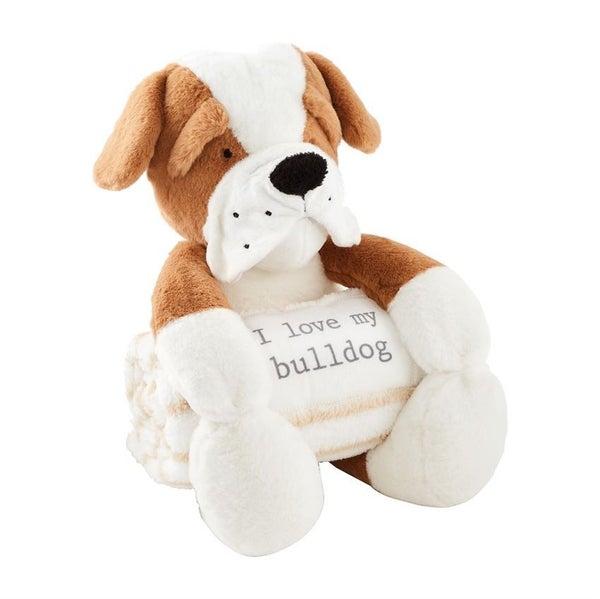 Bulldog Plush With Blanket