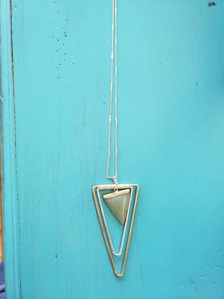 Silver and Gold Triangle Necklace with Mint Stone