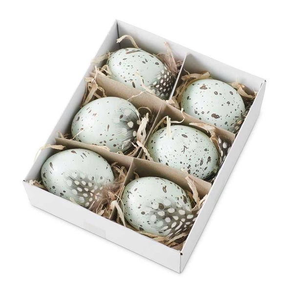 Speckled Blue Eggs Mixed w/Bird Feathers