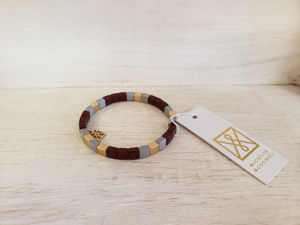 Maroon & White Bracelet